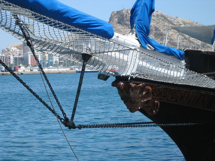 Ships have very beautiful faces. Alicante, Spain Blue Sea And Blue Sky Cropped Feel The Journey Folded Sails Harbour Harbour View Lifestyles Marine Gear Marine Rope Mode Of Transport Moored Nautical Vessel Old Ship Original Experiences Part Of Rostro Sailing Ship Ship Decoration Ship Details Tall Ship Tall Ships Festival Travel Photography Traveling Showcase June