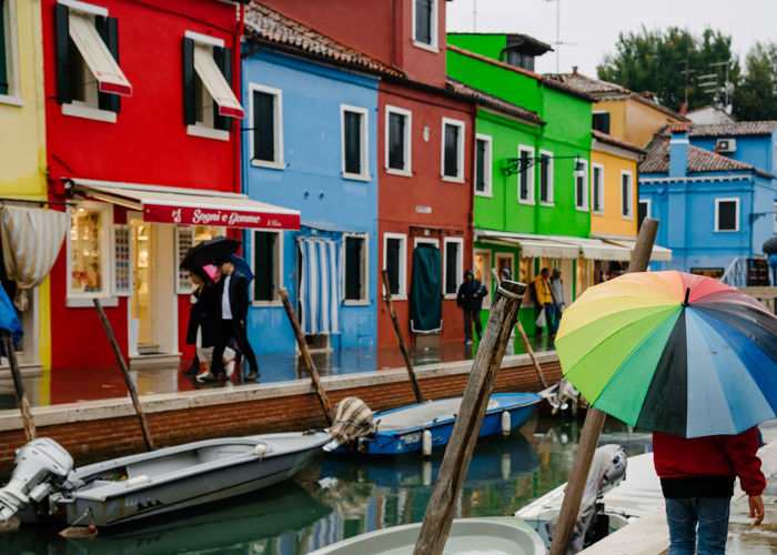 Venice Venice, Italy Building Exterior Architecture Built Structure Transportation Water Building Mode Of Transportation Nautical Vessel Day City Multi Colored Residential District Window Real People Outdoors Men Women Incidental People Nature Canal Rain
