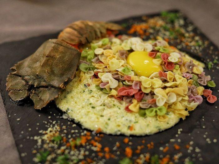 Close-up of food on slate plate