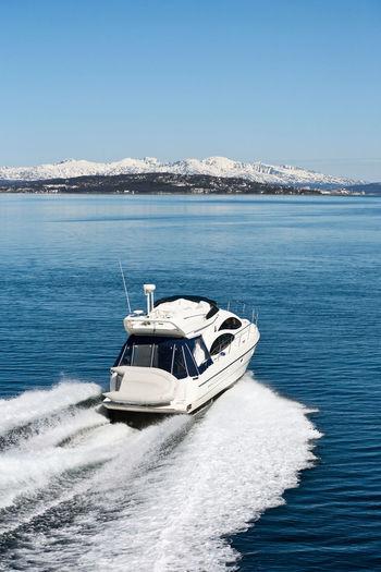 Motor boat in a norwegian fjord