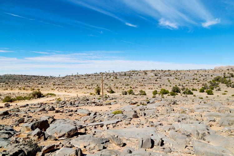 Idyllic shot of desert landscape against blue sky