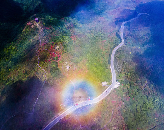High angle view of rainbow over road