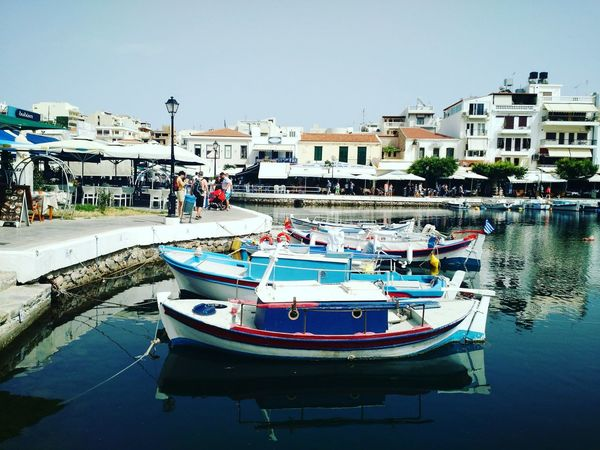 Water Nautical Vessel Moored Outdoors No People Day Boats⛵️ Boats And Moorings Boats And Water Dinghy Sailboat Fishing Boat Crete Greece Agios Nikolaos Summertime Blue Water Safe Harbor Maritime Grace Colors Of Life Colors Playful Fun Adventure