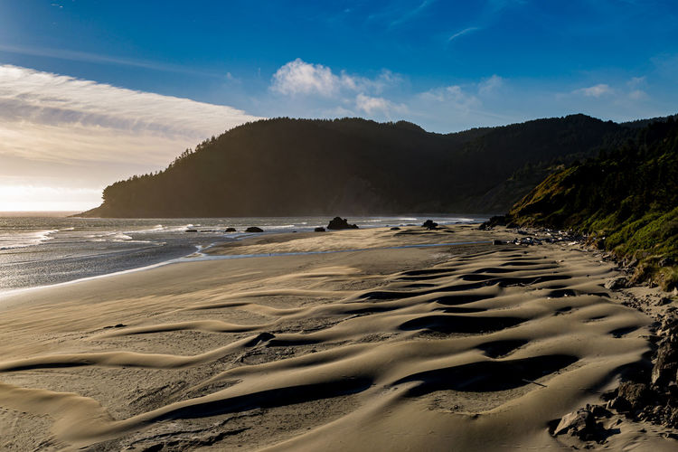 Patterns in the sand made on a windy day, at myers creek beach on the oregon coast