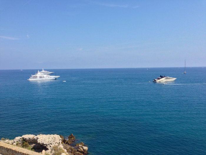 Scenic view of boat in sea