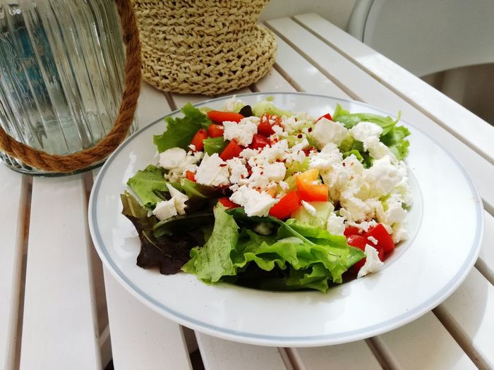 Freshness Fresh Salad  Food And Drink Foodphotography Delicious Homemadefood Terrace View Eating At Home Summer Salad Greek Food Feta Cheese Plate Salad Salad Bowl High Angle View Lettuce Vegetable Close-up Food And Drink Greek Salad Served Cucumber