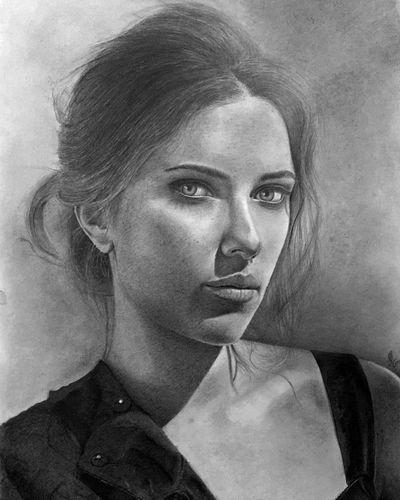 Portrait Beautiful Woman Scarlett Johansson Graphite Charcoal Canvas ArtWork