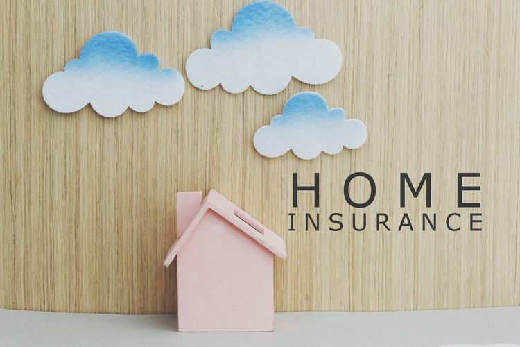 Home insurance concept Finance Financial Damage Home Insurance House Insurance Toy House Concept Conceptual Clour Protection Prevention Wooden Background Text Wood - Material Close-up