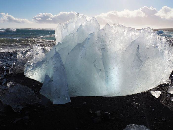 Beauty In Nature Cold Temperature Frozen Glacial Ice Iceberg Iceland Melting Nature Scenics Sea Snow Sun Through Ice Winter
