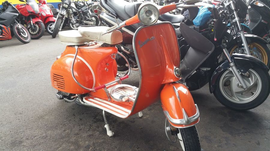 Bright Classic Orange Scooter Classic Scooters Land Vehicle Littlefoodtrail Mode Of Transport Motorcycle Orange Color Scooter Transportation