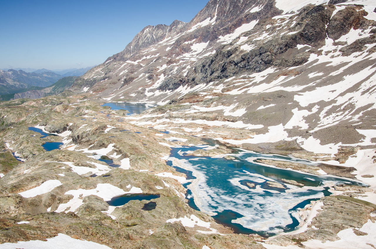 Scenic View Of Snow Melting On Mountain