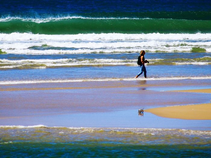 Beach Shore Water Wave Vacations Sea Leisure Activity Sand Walking Summer Nature Reflection Enjoyment Photographer EyeEm Gallery Check This Out People And Places Colour Of Life Colours Of The Sea EyeEm Best Shots Reflections In The Water Green Wave Seignosse Le Penon Capbreton France