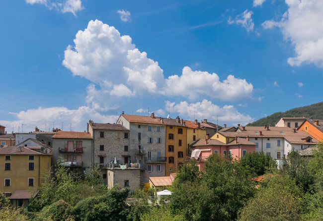 Bardi Typical Blue Building Building Exterior Built Structure City Cloud - Sky Colorful Day Hill House Italy Low Angle View No People Pastel Residential District Roof Sky Sunlight Town TOWNSCAPE Tuscany Italy Village