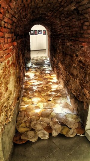 Art Installation Art, Drawing, Creativity ArtWork Bologna Brick Wall Lighting Decoration Art Built Structure Indoors  No People Tunnel