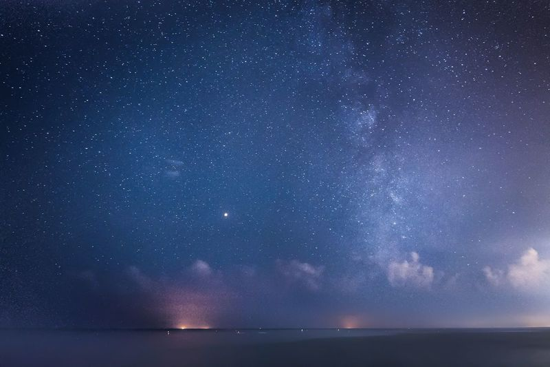 Astronomy Galaxy Space Astrology Sign Milky Way Star - Space Constellation Sea Water Above Space And Astronomy Astrology Infinity Space Exploration Seascape Spiral Galaxy First Eyeem Photo