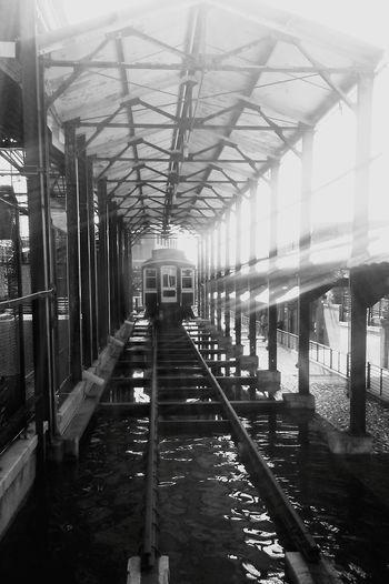 Durham NC Train Tracks Tobaccoroad Black And White Architecture Water No People
