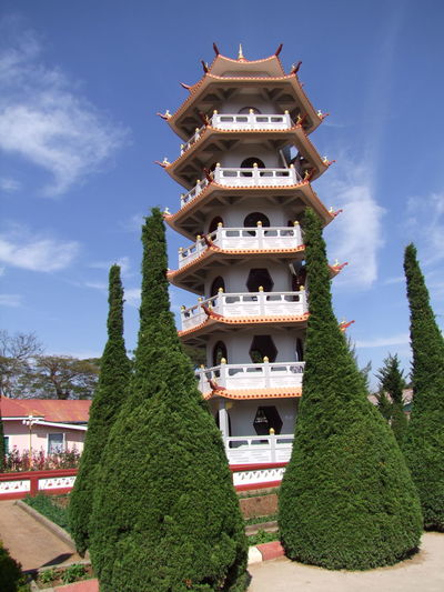 Chinese Pagoda in grounds of Chinese Temple Architecture Beauty In Nature Blue Sky White Clouds Built Structure Chinese Architecture Chinese Building Chinese Culture Chinese Pagoda Chinese Temple Chinese Tradition Composition Full Frame Maymyo Myanmar No People Outdoor Photography Pagoda Place Of Worship Religion Religion And Beliefs Tourism Tourist Attraction  Tourist Destination Travel Destinations Tree
