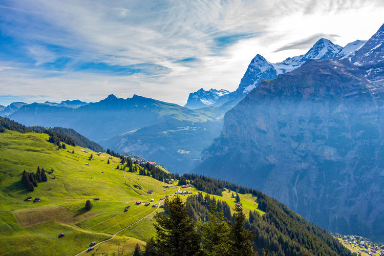 Alps Beauty In Nature Cloud - Sky Day High Angle View Landscape Mountain Mountain Range Nature No People Outdoors Scenics Sky Switzerland Tranquil Scene Tranquility Tree