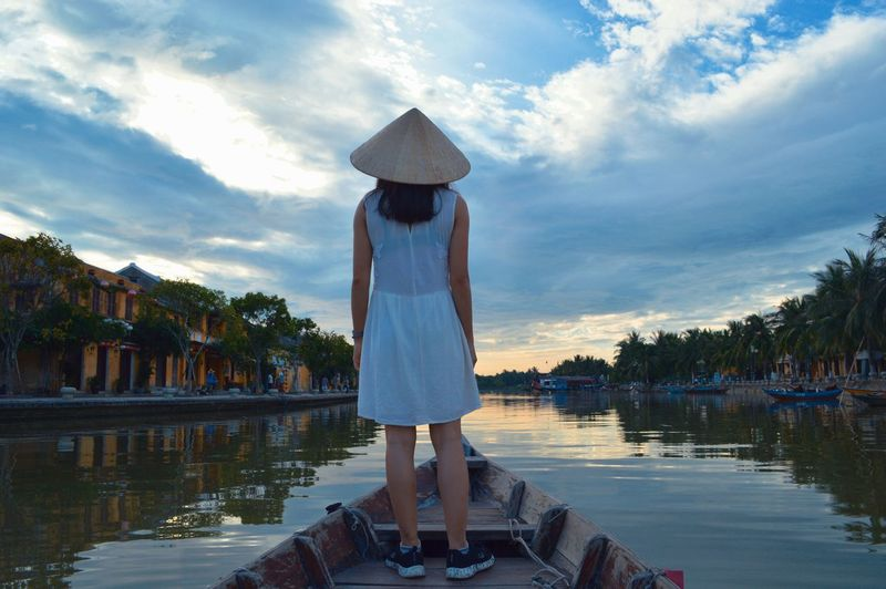 Breathing Space Cloud - Sky Outdoors Lake Summer Vacations Young Adult Relaxation Taking Photos Lodvieliz Live For The Story Girl Boat Hoian, Vietnam River EyeEmNewHere Investing In Quality Of Life Mobility In Mega Cities