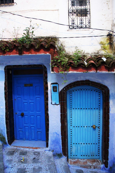 2 Doors Blue Blue City Chefchaouen Door Doors Marroco Travel