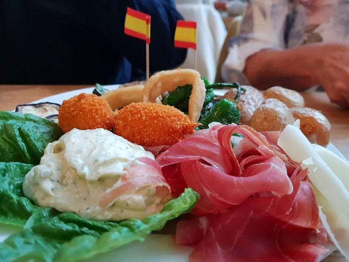 Spanish Appetizer/Tapas on a plate... yummy. .. . Air Dried Ham Tapas Food Food And Drink Foodporn Yummy Appetizer Close-up Food And Drink Prepared Food Serving Dish Food State Bacon The Foodie - 2019 EyeEm Awards The Mobile Photographer - 2019 EyeEm Awards