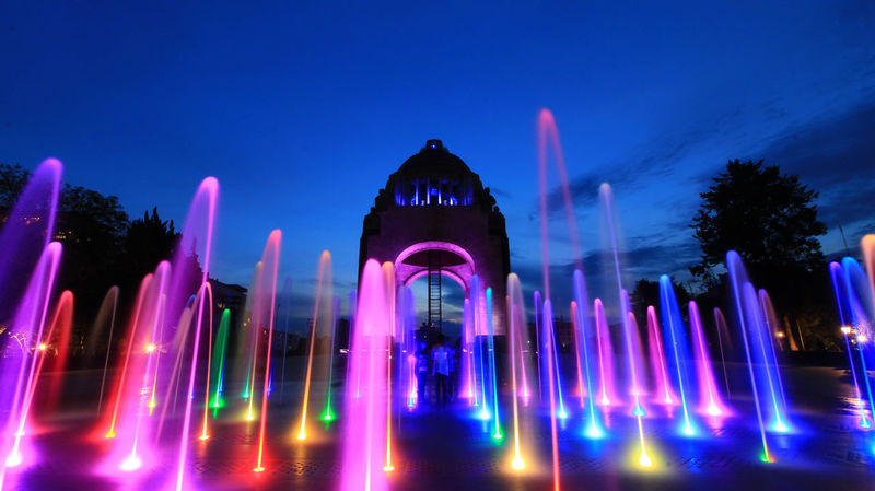 Colors Lights Mexico City Mexico De Mis Amores Monumento A La Revolucion Arch Architectural Column Architecture Building Exterior Hora Azul Illuminated Long Exposure Nature Night No People Purple Sky Travel Destinations Tree Water