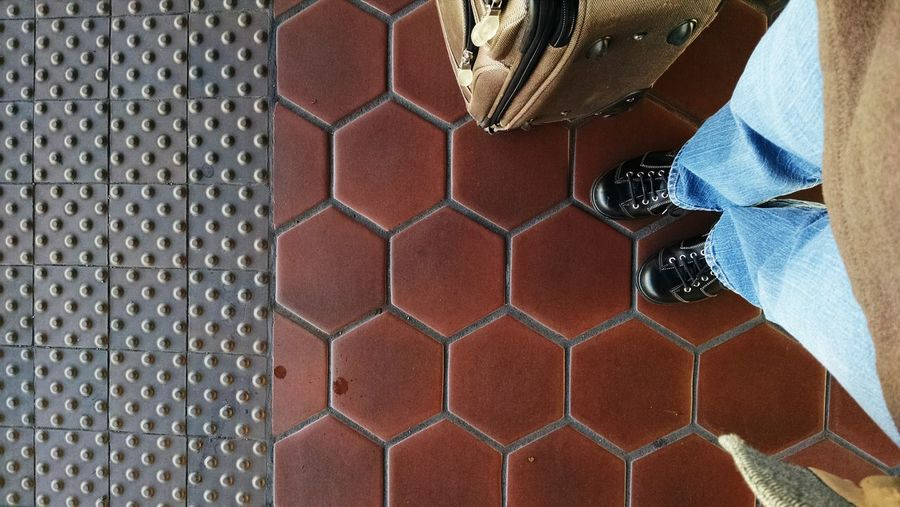 Waiting for the train at the ronald reagan station, washington dc Floor Tile Floorpicture