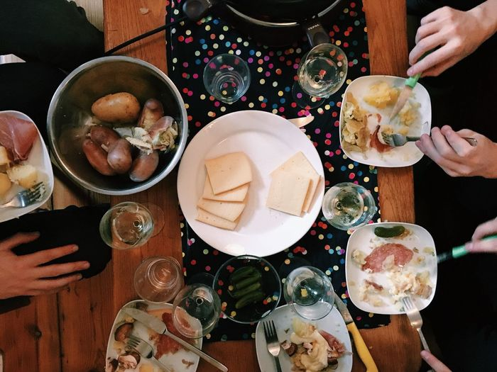 Raclette Food Dinner With Friends View From Above Table Cheese Potatoes Wine