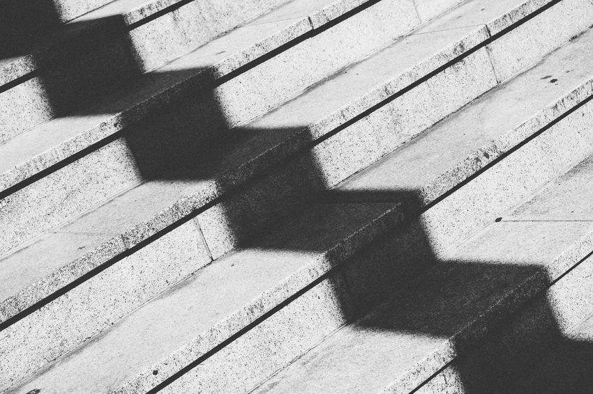 shadow and stairs EyeEm Best Shots EyeEm Nature Lover Shadows & Lights Stairs Architecture Built Structure Close-up Day Focus On Shadow Full Frame High Angle View Metal Nature No People Outdoors Pattern Railing Shadow Staircase Steps And Staircases Sunlight Upstairs Wall - Building Feature Wood - Material