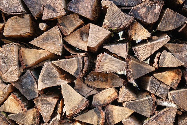 Rustic firewood as background texture