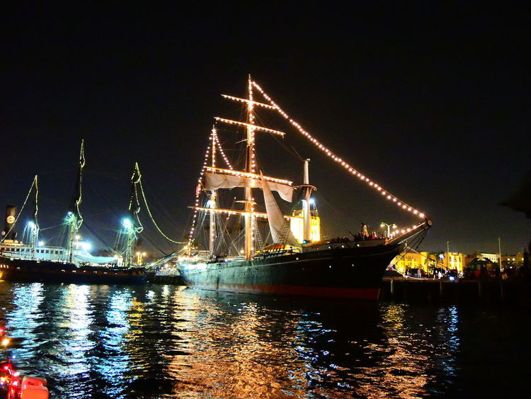 Harbor Lights Parade Of Lights Water Reflections Color Harbor View Illuminated Illuminated Boats Nautical Vessel Night Outdoors Sky Travel Destinations