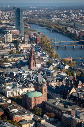 High angle cityscape of frankfurt am main with st. pauls church and european central bank
