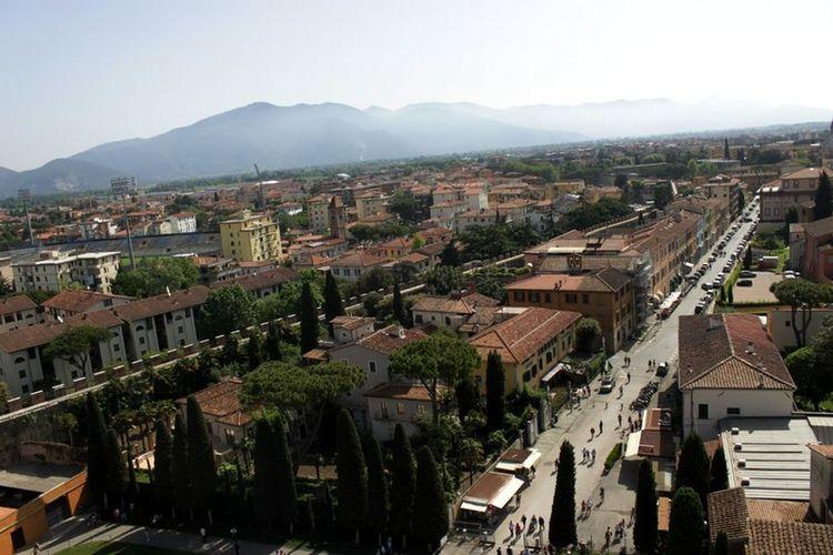 Aussicht azf Pisa vom Schiefen Turm von Pisa Traveling Unterwegs In Toskana My Holidays