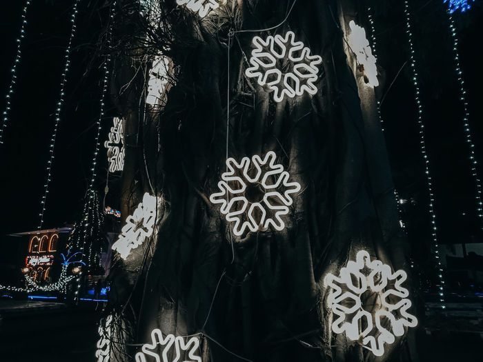 Close-up of illuminated decoration hanging for sale at market stall