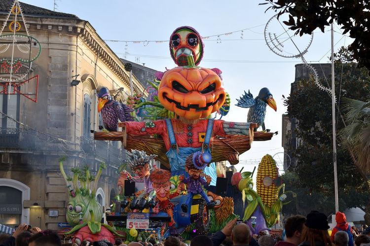 Acireale Carnival Celebration Event Float Happiness Holiday Public Transportation Social Tradition Allegorical Color Cultural Entertainment Festival Joy Mask Parade People Satirical