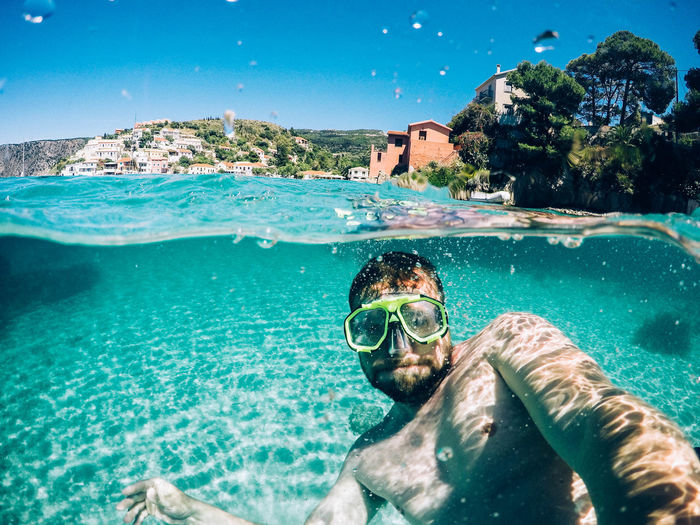 Beauty In Nature Blue Close-up Day Gopro Goprohero4 Hot Day Lifestyles Looking At Camera Nature One Person Outdoors Panorama Real People Sea Sea And Sky Selfie Snorkeling Swimming Swimming Pool UnderSea Underwater Vacations Water Young Men