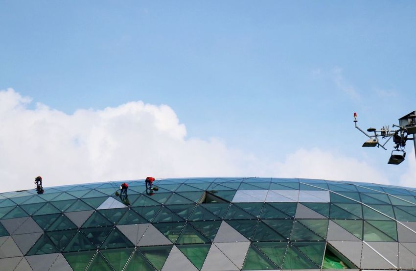 Rooftop Eyeem Singapore Men At Work  Real People Men Sky Low Angle View Lifestyles Architecture Day Outdoors