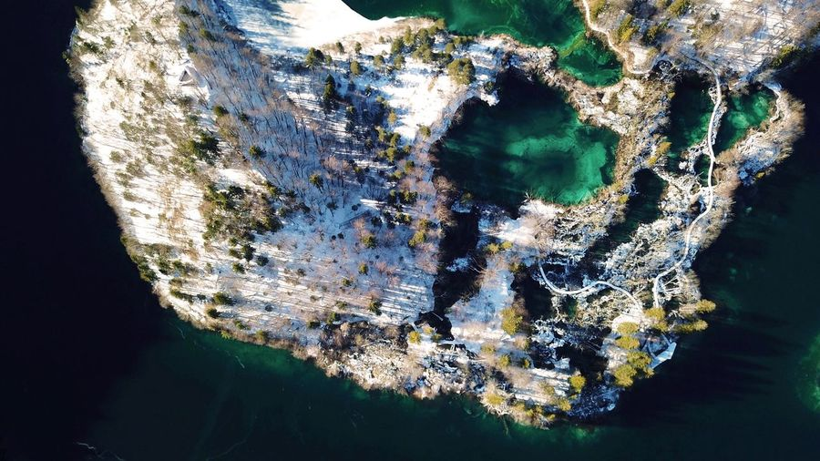 Holiday Travel Destinations Plitvice National Park Ice Snow Lake Aerial View No People Close-up Pattern Nature Water Outdoors Day Cold Temperature Frozen Beauty In Nature Winter