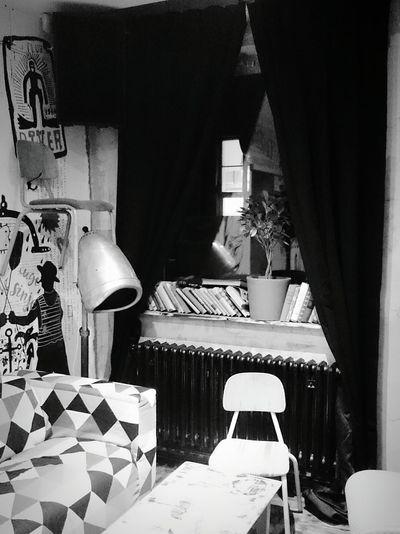 Corner of absurdity... :-) Cellphone Photography Sonyxperiaz1 Random Places Bar Corner Lyrical Madness Absurdity Books Chair Window Creative Chaos Beautiful Chaos No People Windows Homey Blackandwhite