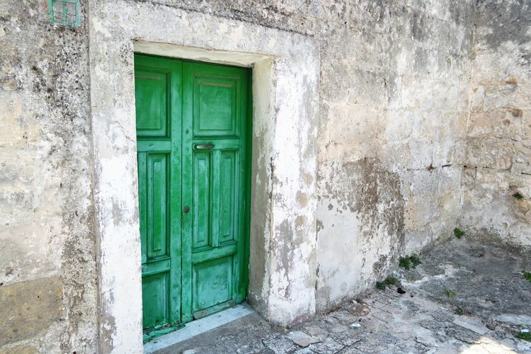 Architecture Basilicata, Italy  Building Exterior Built Structure Closed Day Door Green Color History House Legno Wood Matera Italy No People Old Town Outdoors Portone Antico Stone Material Turquoise Colored Wall Wall - Building Feature Weathered Window