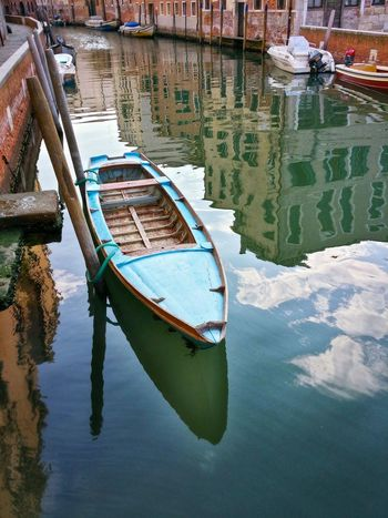 Sky Blue Boat On A Blue Sky Reflection Venice Veneto Italy Travel Travel Photography Traveling Dream Destinations Mobile Photography Backlight Water Canals Architecture Historical Buildings Rowing Boats Motorboats Boat Poles Sky Clouds Reflections And Shadows The Earlier The Better Early Morning Walks Atmosphere Water Surface Outdoors