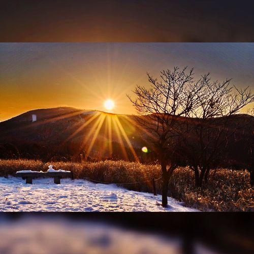 夕陽 Nature 自然 Sunset 夕焼け Mountain 山 射光 Snow 雪