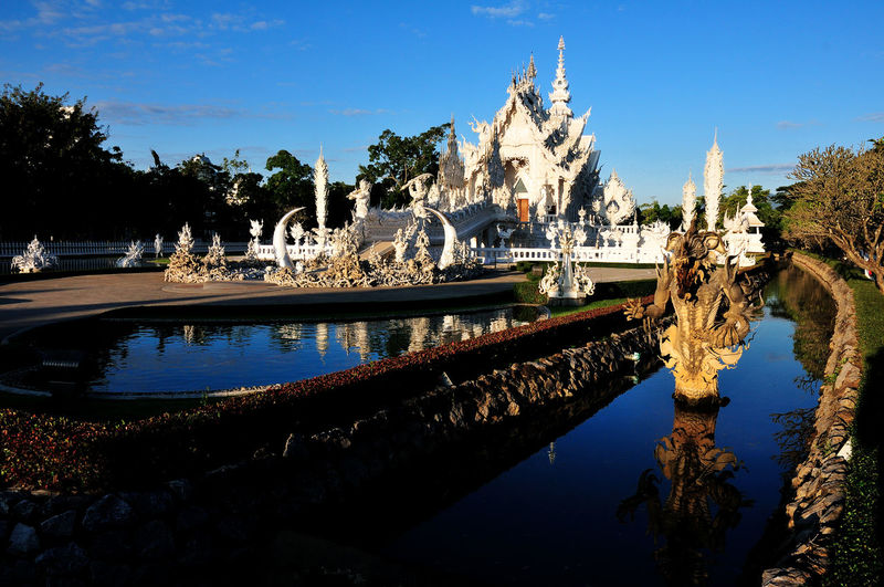wat rhong kun Architecture Building Building Exterior Built Structure City History Nature No People Outdoors Place Of Worship Plant Reflection Religion Sky The Past Tourism Travel Destinations Tree Water