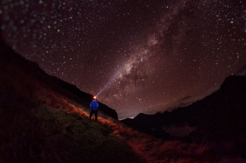 Rear view of man with illuminated flashlight on field against sky at night