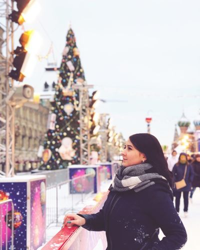 Christmas Decoration Christmas Tree Red Square Moscow Rear View Young Women Outdoors City Day Architecture Building Exterior Beautiful Woman Women Focus On Foreground