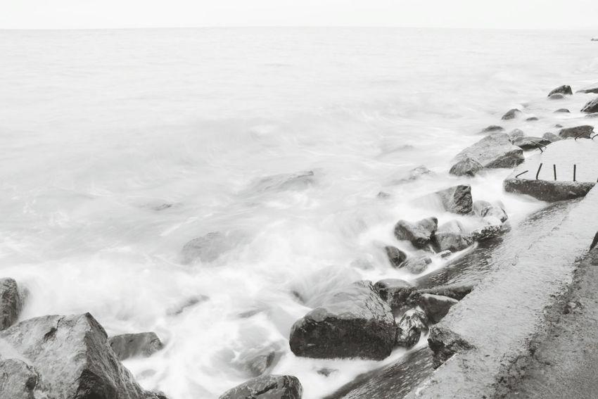 Blacksea Sea Waves Blackandwhite