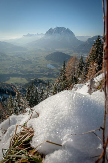 Looking down into the Enns Valley and a mountain called Grimming. Mountain Cold Temperature Winter Mountain Range Scenics - Nature Snow Nature Sky Beauty In Nature Plant Landscape Day No People Tranquil Scene Tranquility Environment Tree Non-urban Scene Outdoors Snowcapped Mountain Mountain Peak