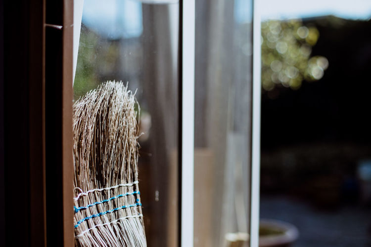 Close-up of garden broom leaning at glass window