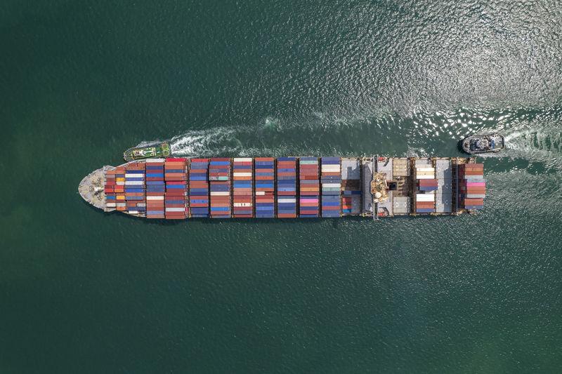 Container ship at sea shore