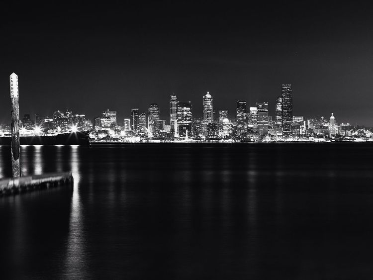 Downtown Seattle skyline from West Seattle. RB67 Medium Format Nightscape Water Reflections